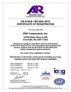 RG Components AS9120B Certificate