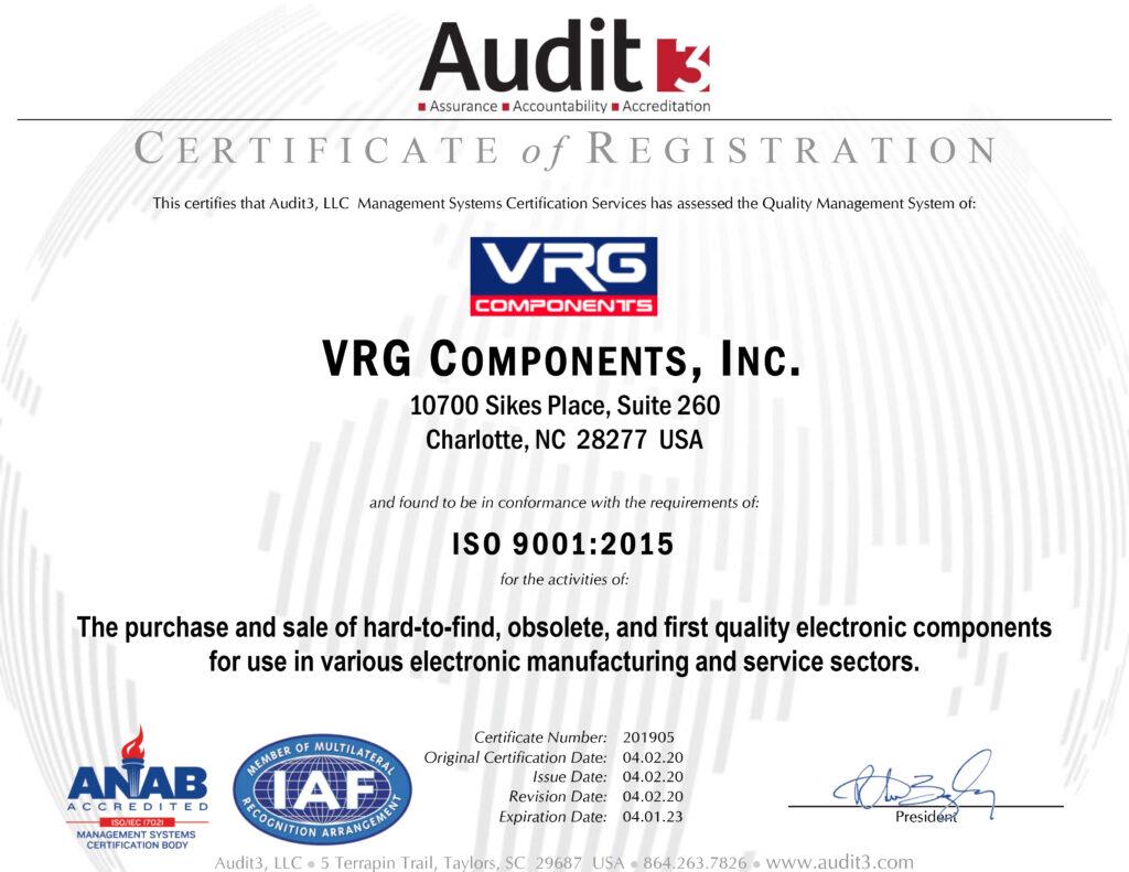 VRG ISO 9001:2015 Certificate of Registration