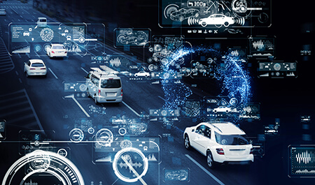 Communication network of transportation. GUI (Graphical User Interface). HUD (Head up Display).