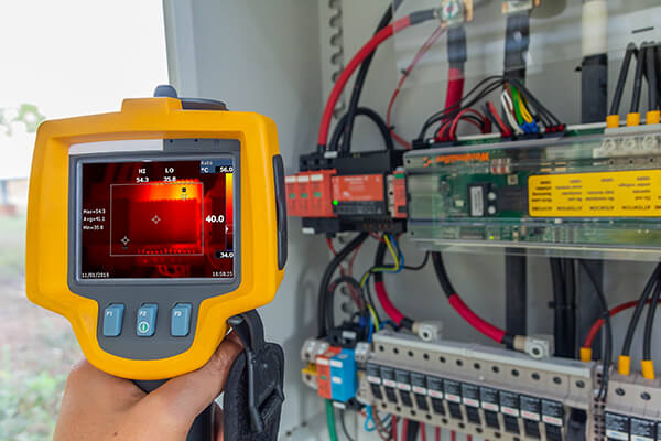 Instrumentation & Metering - Thermoscan (thermal image camera), Industrial equipment used for checking the internal temperature of the machine for preventive maintenance, This is checking The power supply for tracking sun of solar plant.