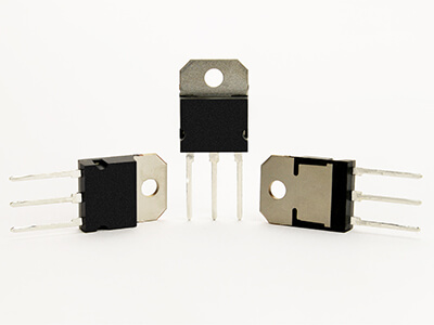 3 transistors on a white background