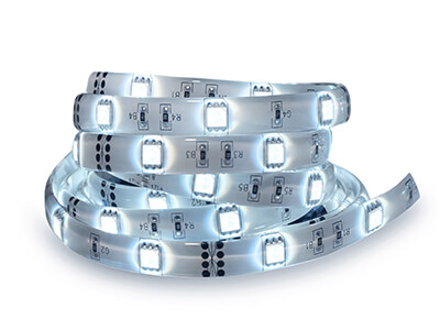 Led stripe coil isolated on white. Electric diode strip.