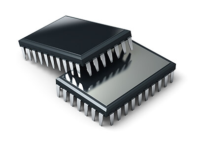 Microcontrollers & Processors isolated on a white background